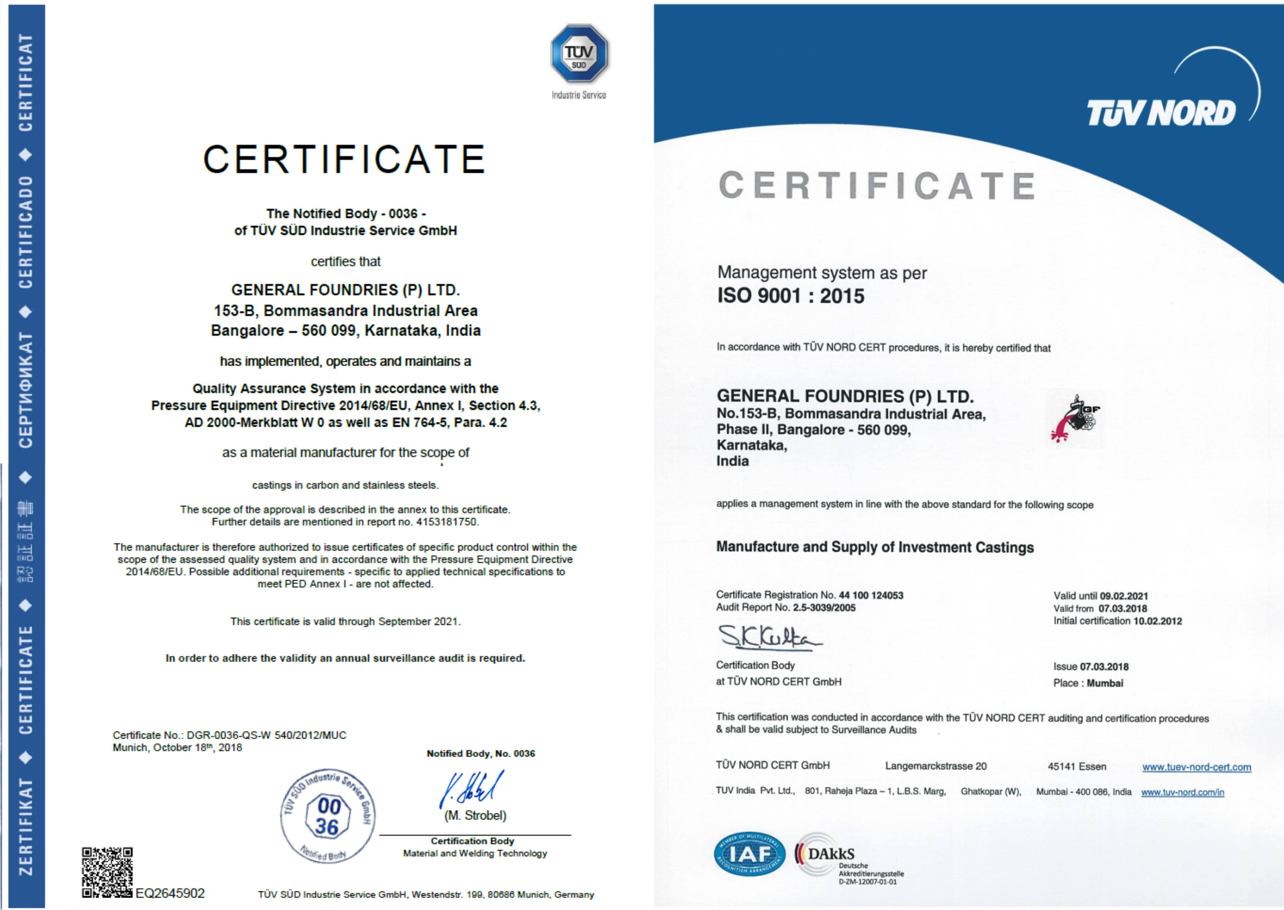 General Foundries Certifications